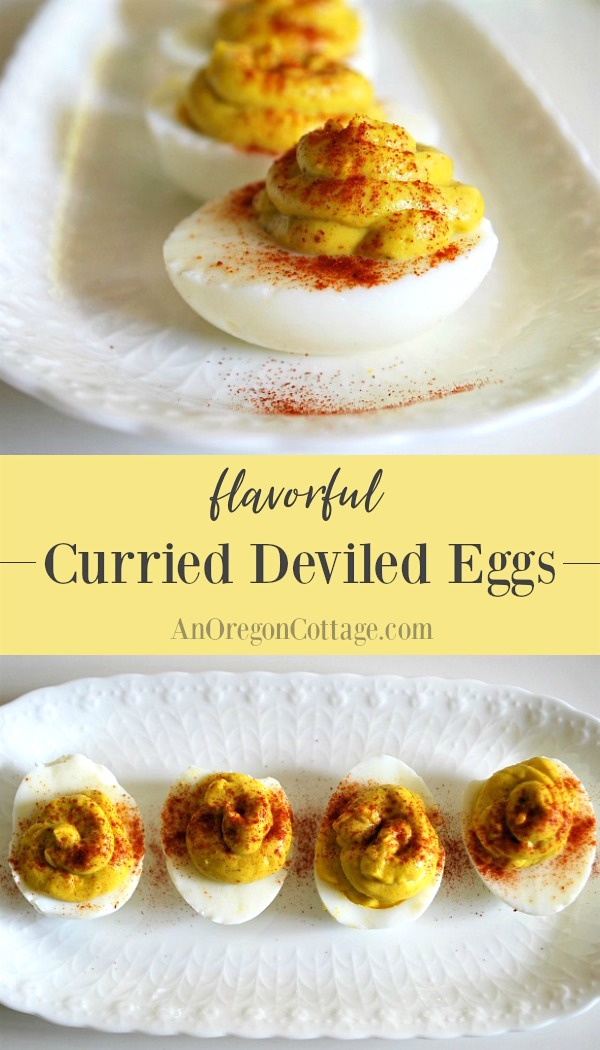 Curried deviled eggs are a flavorful change up from classic #deviledeggs - they fly off the plate at parties!