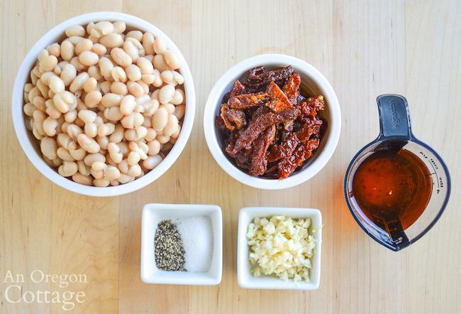 Dried tomato white bean dip ingredients