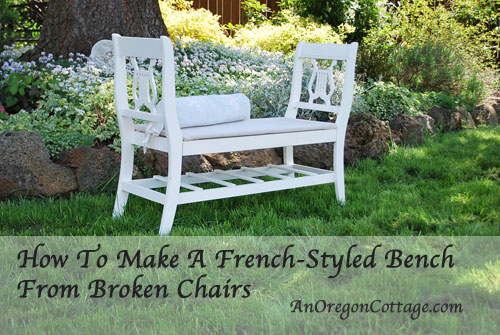 How to make a French-styled bench from old chairs.