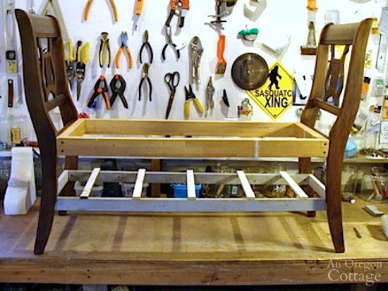 French style bench from old chairs in progress