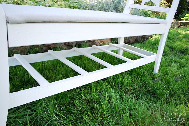 French style bench from old chairs-bottom rail details