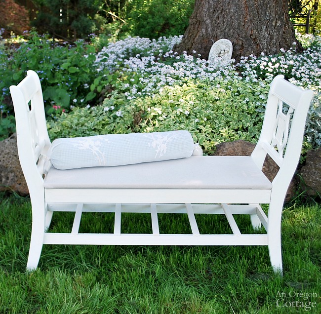 Make a French style bench from old chairs