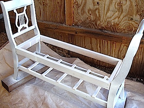 Painting bench from old chairs