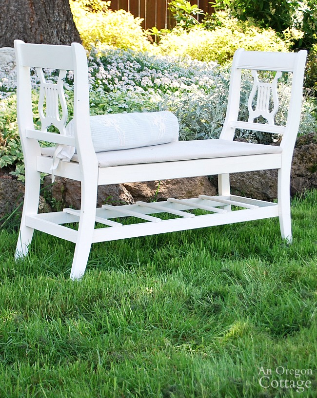 Upcycled French style bench from old chairs | AnOregonCottage.com