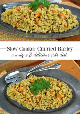 Easy Slow Cooker Curried Barley with Carrots & Onions