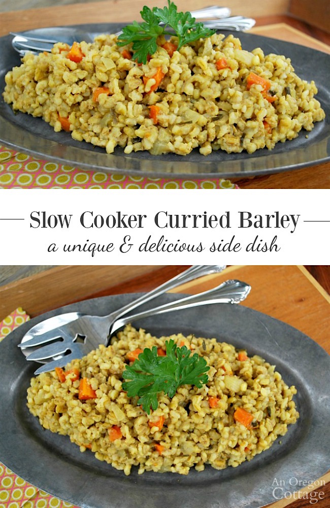 Slow Cooker Curried Barley with carrots and onions on plate