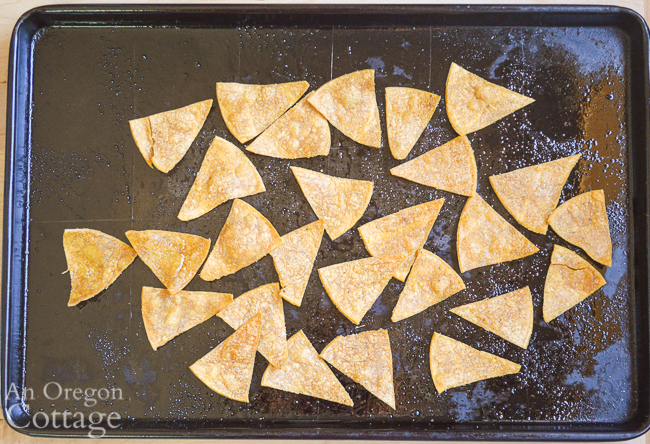baked tortilla chips on pan