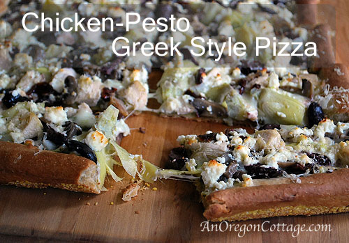 Homemade Chicken Pesto Greek Pizza - An Oregon Cottage