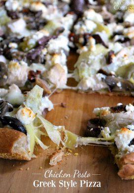 Chicken Pesto Greek Style Pizza Recipe