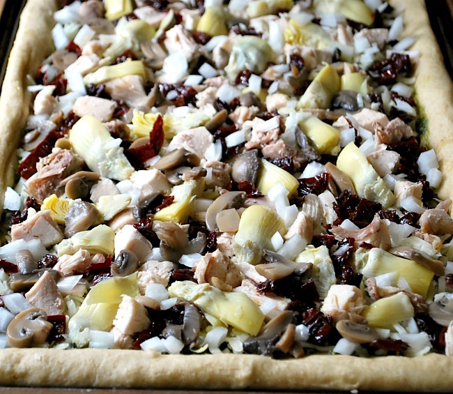 Greek Style Pizza vegetable layer