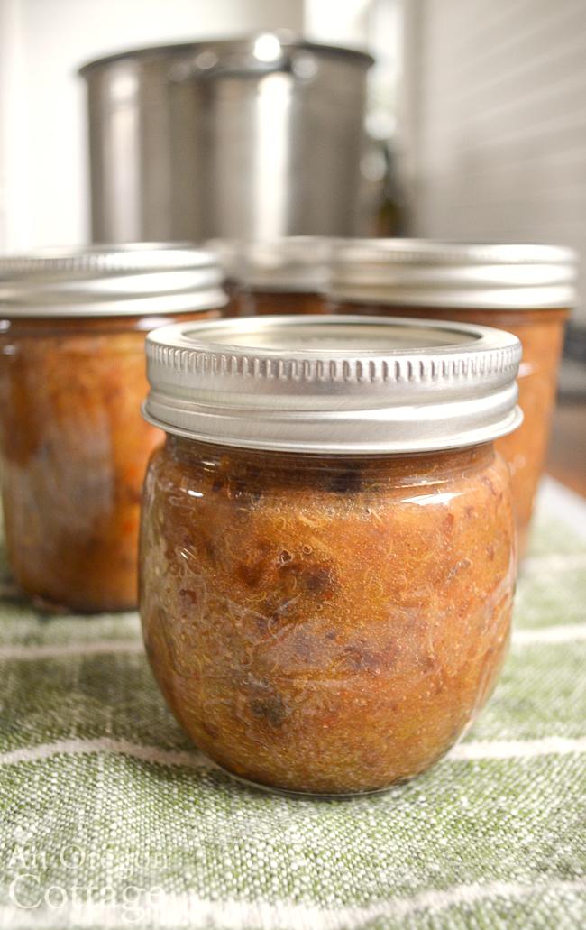 rhubarb chutney canned in jar