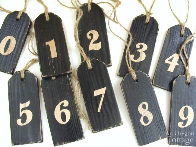 Distressed numbered tags