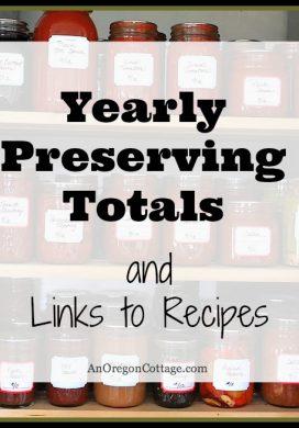 Past Preserving Totals & Recipe Links