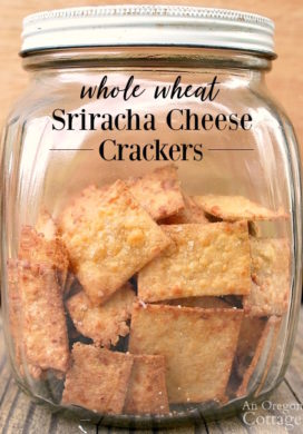 Sriracha Cheese Crackers in a vintage jar.