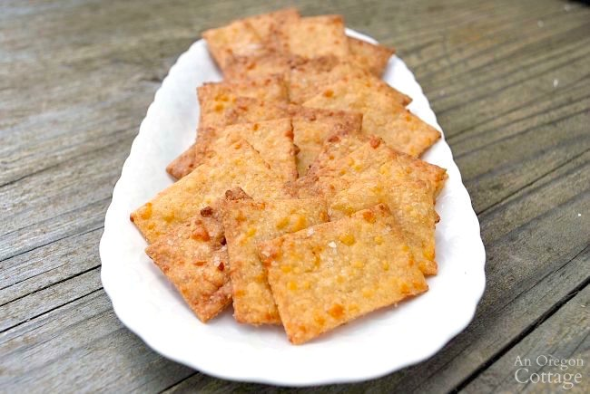 Whole Wheat Sriracha Cheese Crackers plate