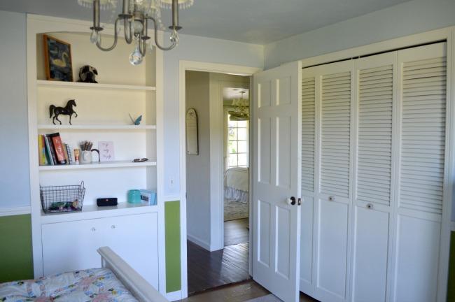 Built-in Vintage Cabinet in Girl's Bedroom