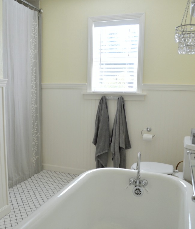 Gray and Yellow Cottage Master Bathroom
