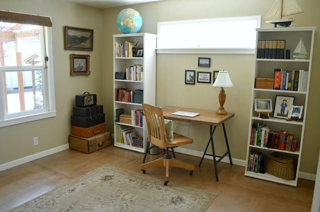 Tan Office with DIY Salvaged Wood Desk