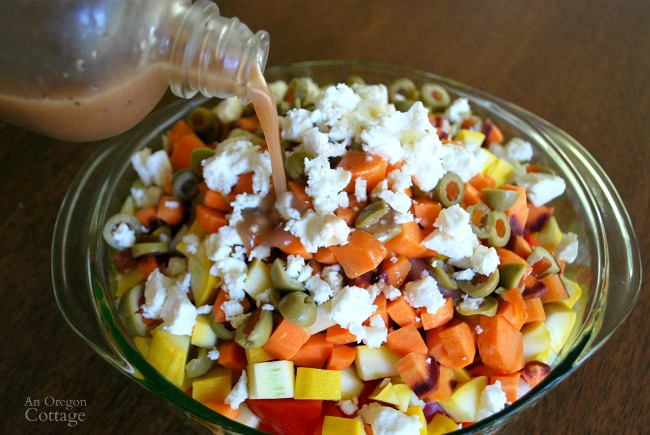 Chopped salad with vinaigrette dressing