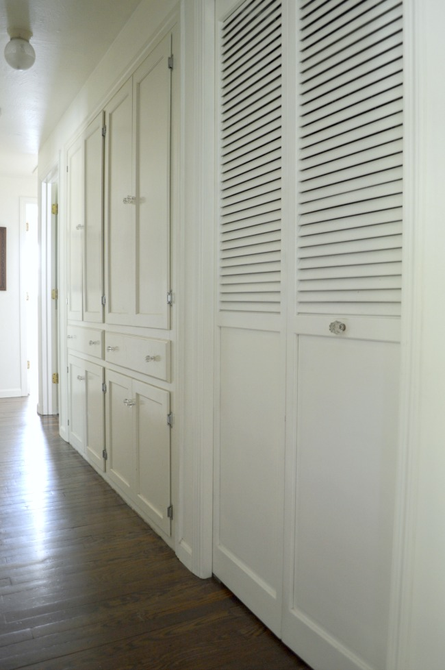 White Painted Built-in Hallway cupboards