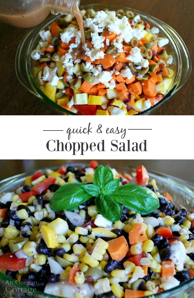 Quick and Easy Chopped Salad makes a great change from green salads and is easy to change by using seasonal vegetables.