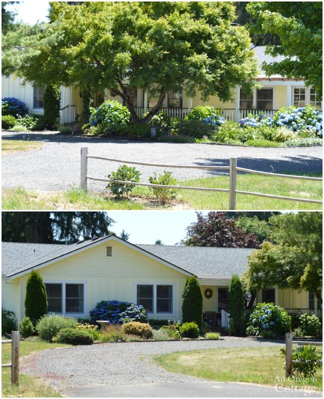 Yellow-White Cottage Farmhouse exterior