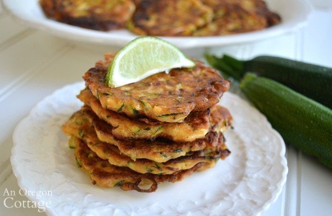 zucchini feta fritters stack with lime