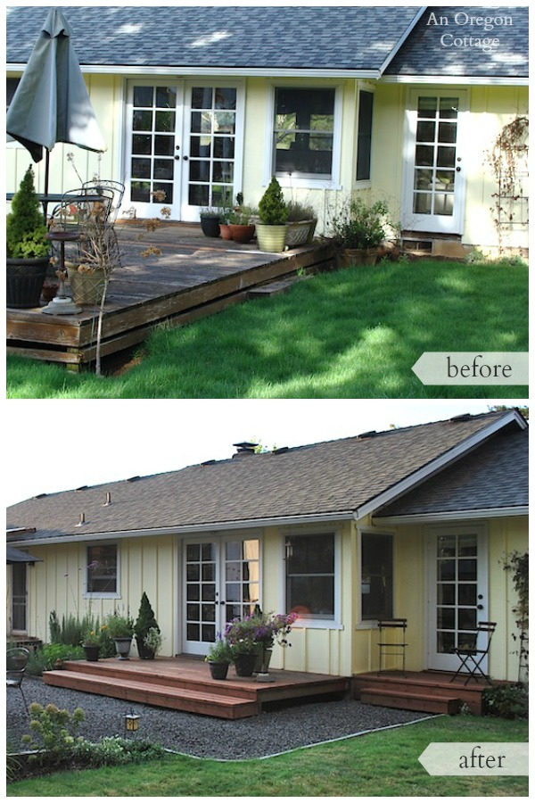Backyard makeover before and after- French doors