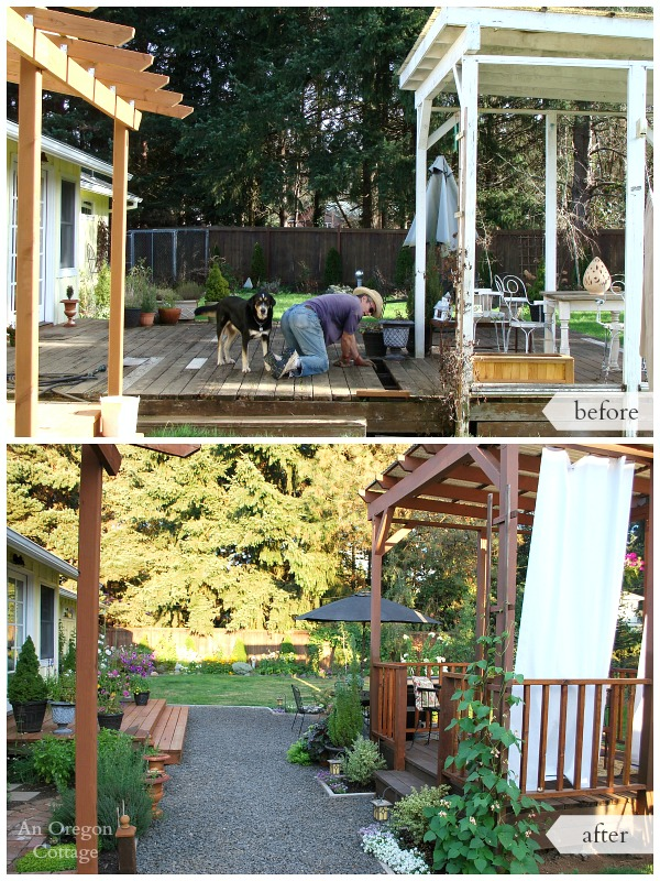 The backyard makeover reveal an oregon cottage for Garden decking before and after