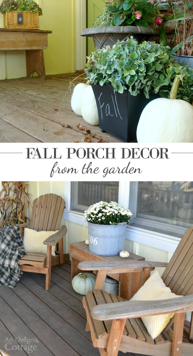 Fall Porch Decorating From the Garden- update your porch for autumn with simple, natural elements from the garden.