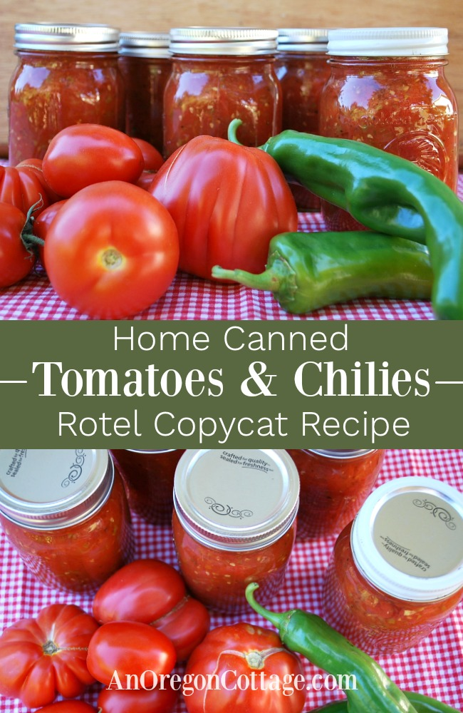 Home canned tomtoes and chilies-rotel recipe pin image