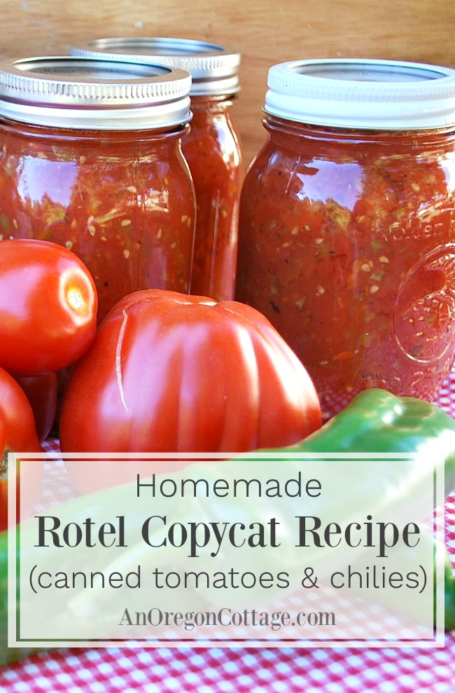 Homemade canned Rotel tomatoes and chilies