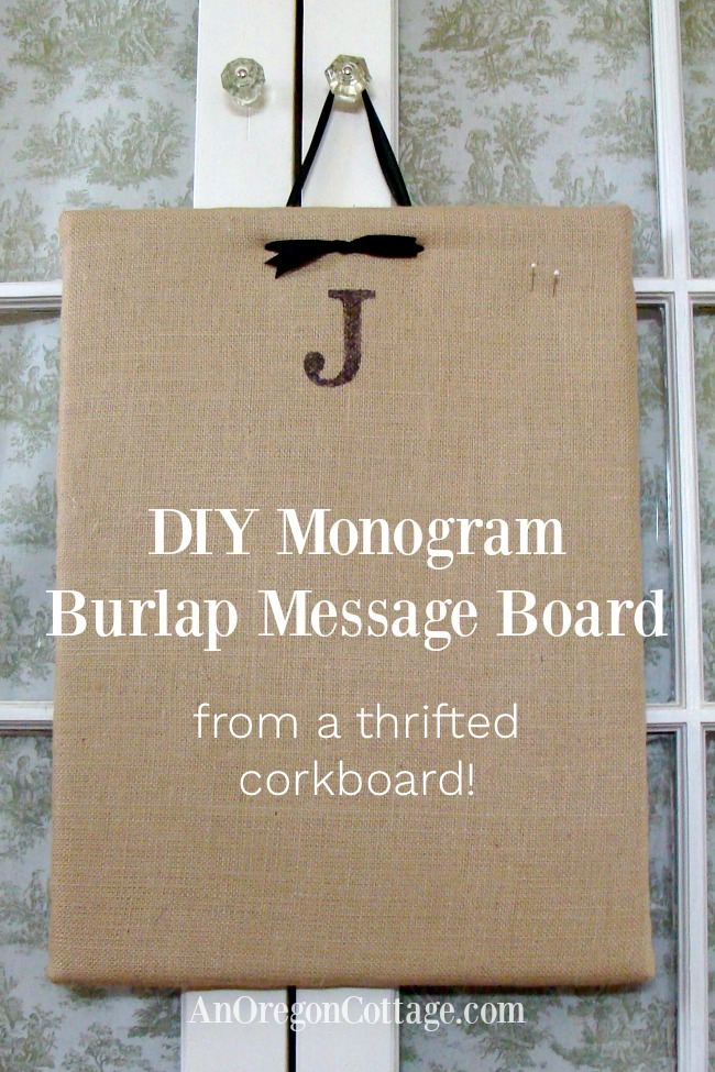 DIY Monogram Burlap Message Board