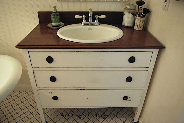 Turn A Thrift Store Dresser Into A Bathroom Vanity An Oregon Cottage - How to make a bathroom vanity