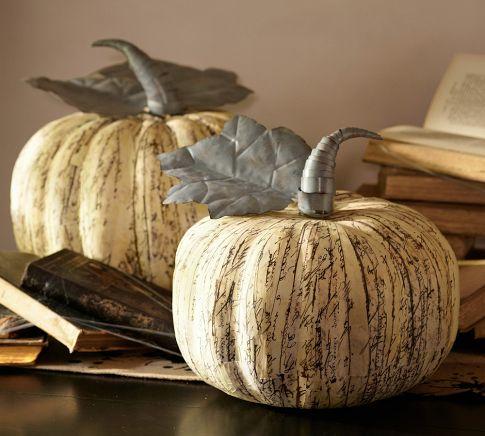 Scripted Newsprint Decoupaged Pumpkin An Oregon Cottage