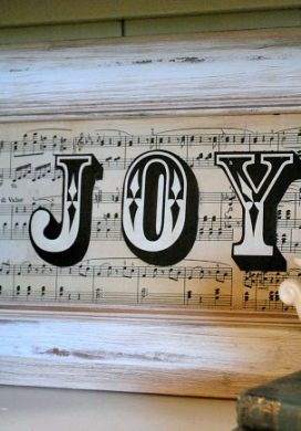 Sheet Music JOY sign-Upcycled door to christmas decor.