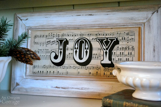 Sheet Music JOY sign-Upcycled door to christmas decor.