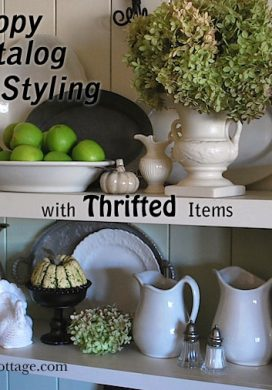 Copy Catalog Shelf Styling with Thrifted Items