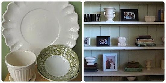Thrift white pottery