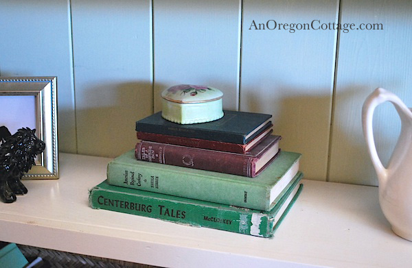 Vintage books with heart box