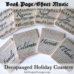 Book Page and Sheet Music Decoupaged Coasters