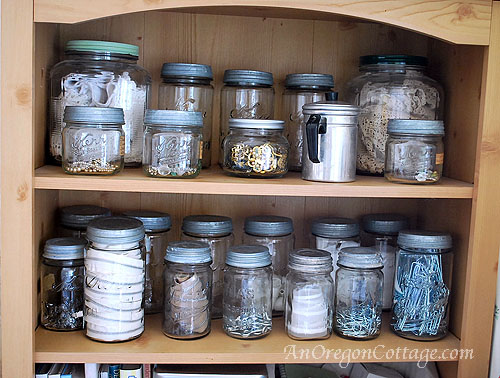 jewelry in mason jars
