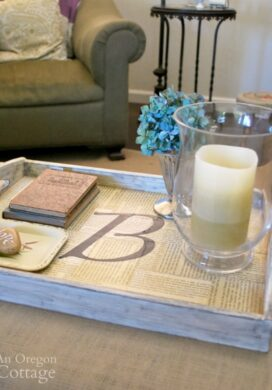 Monogram book page tray on coffee table