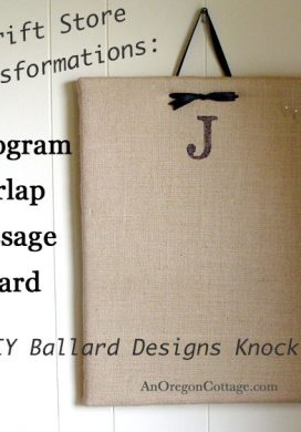 Monogram Burlap Message Board – A DIY Ballard Designs Knock Off