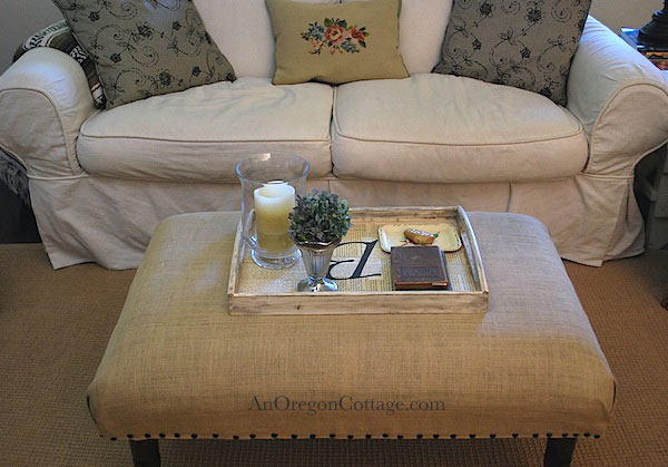 monogram tray on footstool