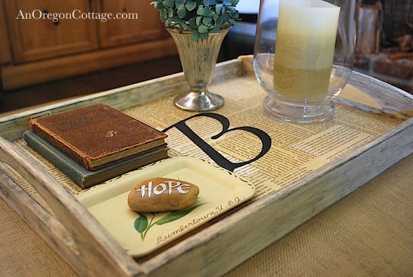 monogramed tray book pages