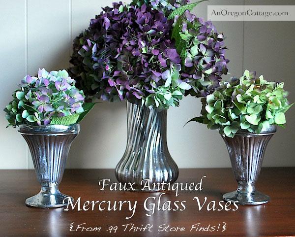 Faux Antiqued Mercury Glass Vases