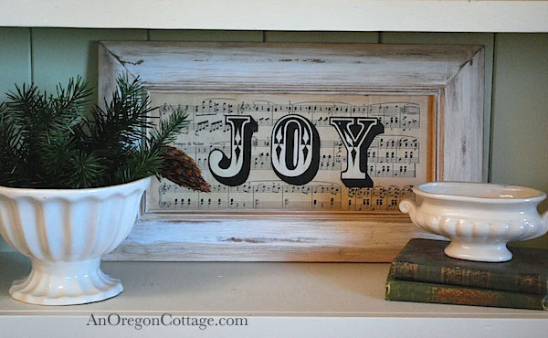 Vintage sheet music joy sign