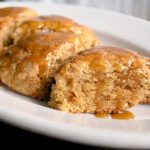 Caramel glazed double apple scones