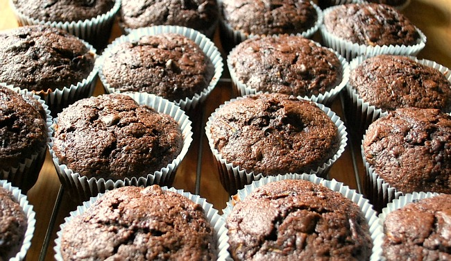 Chocolate Zucchini Cupcakes cooling